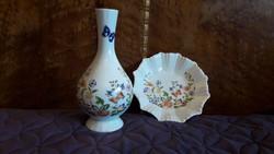 Aynsley porcelán váza és tálka páros