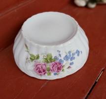 Gyönyörű ritka  virágos porcelán rózsás pogácsás tál, Gyűjtői darab