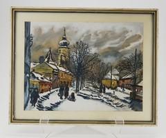 Ismeretlen alkotó: Téli utca  Akvarell, tempera papír