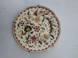 Zsolnay antik tál tányér színes festett 1800as évekből! Családi jelzés, különleges festésű.