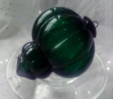Smaragdzöld üveg karácsonyfa dísz 12cm