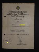2.Világháborús vaskereszt Iron cross / Eisernes Kreuz Német adományozói dokumentum