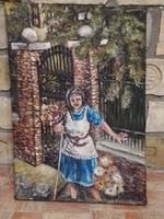 Antik festmény -kislány-virágok  69×47 cm