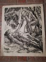 Wilhelm Schocken:  Siratás, litográfia 1916