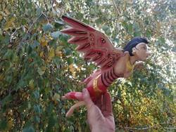 Festett, aranyozott fa szobor, szárnyas nő, Buddha, buddhizmus, távolkeleti. Különleges ritka darab.