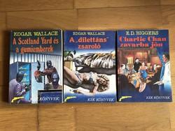 3 db Kék könyvek - Edgar Wallace és E.D. Biggers