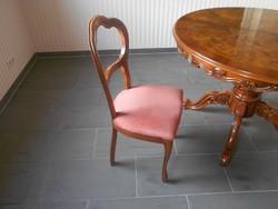 Intarzias antik barok póklábú étkezőasztal 6 székkel