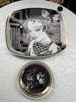 Szász Endre porcelán tálka és mini tányér