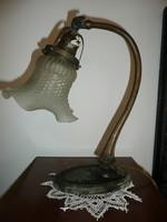Szép, eredeti, működő, csiszolt üveges, rézből készült szecessziós íróasztal- / asztali lámpa
