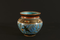 Antik 1880. Japán Türkiz Zománcos Kaspó Rekeszzománc Cloisonné 11,5x12,5cm Kínai