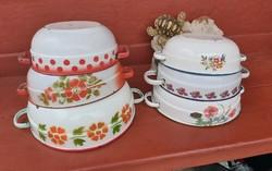 6 db-os zománcos csomag Bonyhádi Budafoki tálak virágos pipacsos Paraszti falusi  Nosztalgia darabok
