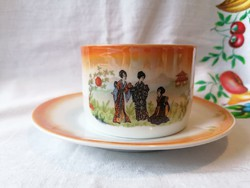 Régi Gésás Zsolnay teás csésze+alj (irizálos) 03.
