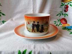 Régi Gésás Zsolnay teás csésze+alj (irizálos) 05.