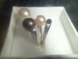 14K fehérarany gyűrű / gyöngy