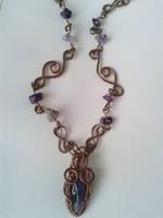 Iparművész réz-ametiszt nyaklánc