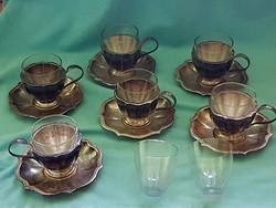 Régi jelzett patinás ezüst kávéskészlet hőálló üveg poharakkal
