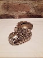 Ezüstözött  persely  Bébi cipő