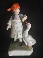 Antik Herendi porcelán - Libás lányka, Vastagh György szobrászművész terve alapján