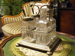 Antik, kristály fűszer szett, ezüstözött, alpakka fűszertartó állványon, só, olaj, fűszerkémek