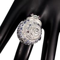 Tanzanit es Granat 925 ezüst csiga alakú gyűrű méret 56