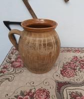 25  cm magas régi  kerámia szilke, köcsög, korsó, nosztalgia, paraszti dekoráció