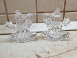 Ólomkristály táncoló bohóc 2 db, kis szobor eladó!