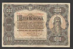 1000 korona 1920.   VF+!!  100 ÉVES!!  NAGYON SZÉP!!