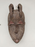 Antik afrika afrikai maszk Songye népcsoport african mask Kongó arcon tetoválás fejen 2 madár zk5