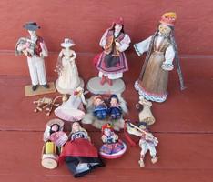Retro figurák,csuhé baba, ,egyéb figurák, babák. Egyben eladó
