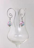 KÉZMŰVES ÚJ Apró lámpagyöngy fülbevaló pasztell színekben, üvegékszer