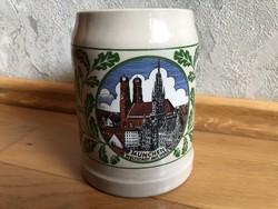 München Weltstadt mit Herz - Müncheni látképes kerámia sörös korsó  14.