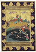 Antik perzsa miniatűr gouache vadászjelenet gazella vadászat lovas kard 20. század eleje eredeti