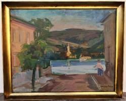 Gálffy Lola (1902-1980) Visegrádi táj c. Képcsarnokos olajfestménye EREDETI GARANCIÁVAL !!!