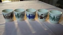 Öt német (GDR) kerámia pohár, rajta híres berlini épületek