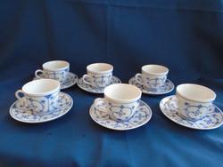 Antik meisseni 6 személyes teás készlet 12 db 1800 évekből