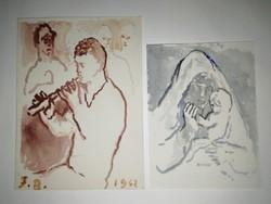 Ferenczy Béni - két akvarell - az alkotó kézírásával - eredeti,garanciával - 1 forintról!