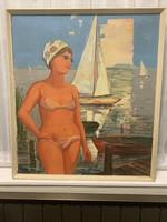 Festmény Balatoni retró 70x80+ keret