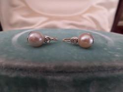 Gyöngyös - gyémántos antik arany fülbevaló pár