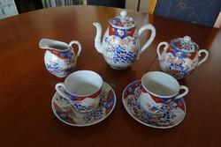 Antik kínai IMARI mintás porcelán teás készlet (5 darabos) 1800-as évek második feléből