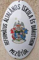 Régi Református Általános Iskola És Diákotthon Mezőtúr zománc tábla (Ja-118)