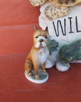 Zsolnay porcelán boxer kutyus , nipp, figura, nosztalgia darab.