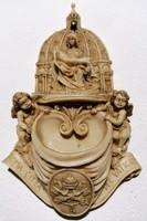 Régi faragott La Pieta Roma Citta Del Vaticano szenteltvíz tartó (Ér-142)
