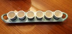 Régi Gorka kerámia retro likőrös pálinkás röviditalos kínáló készlet tálca pohár 7 db