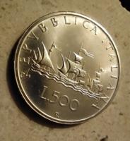 Italy 1986 R 500 Lira, Caravelle, ezüst, UNC, ritkább évszám