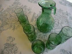 Kecses kancsó 6 pohárral buborékos technikával zöld üveg antik kancsó13x25 cm