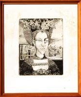 Horkay István (1945): Pandora, 10/3 - rézkarc, eredeti keretben