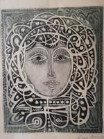 Kass János - női portré rézkarc üvegezett, eredeti keretében, szignózott, hibátlan 60 cm