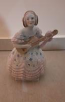 Herendi rózsaszín ruhás porcelán Déryné figura