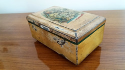 Régi jelenetes fémdoboz vintage doboz