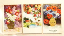 Régi képeslap 3 db virágos rózsás üdvözlőlap 1942